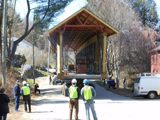 The only covered bridge along the Air-Line Trail