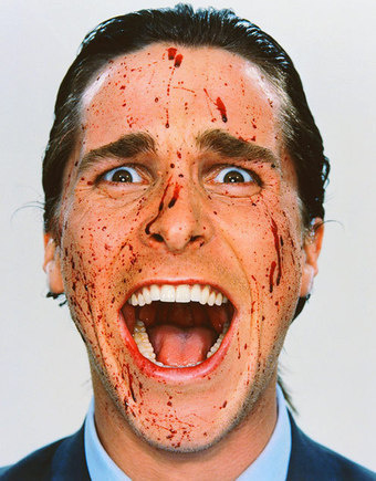 via pageeyes.wordpress.com (A picture of Patrick Bateman (Christian Bale) from American Psycho via 1991.