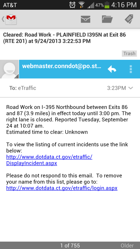 A traffic/accident alert from the state's Department of Transportation via a screen shot on my Samsung GS4